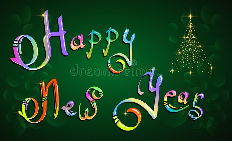 Happy New Year hand-lettering colored text on green background royalty free illustration
