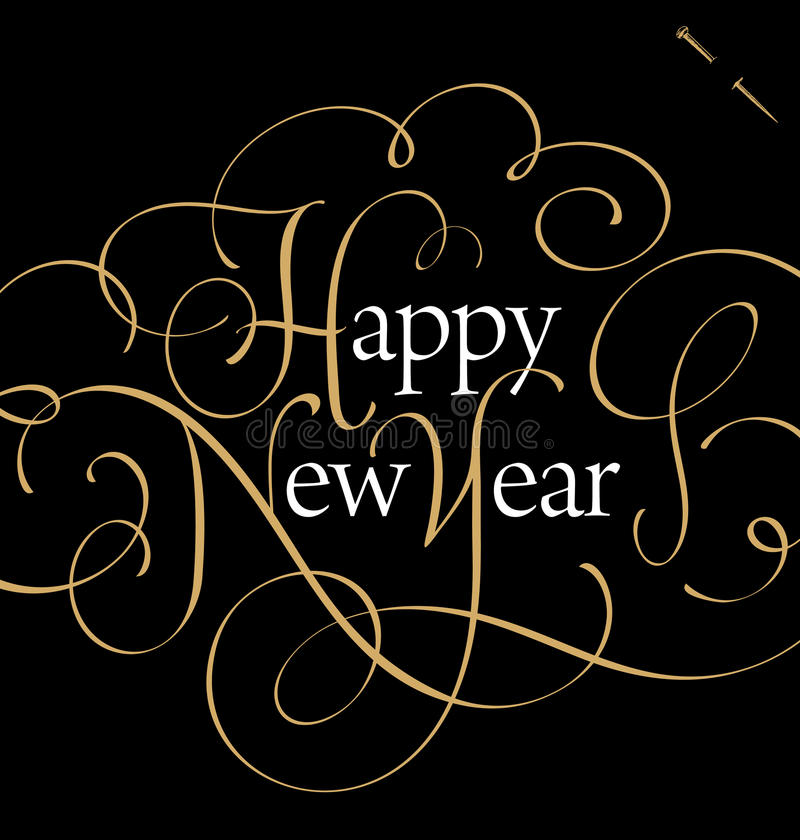 HAPPY NEW YEAR hand lettering (vector) vector illustration