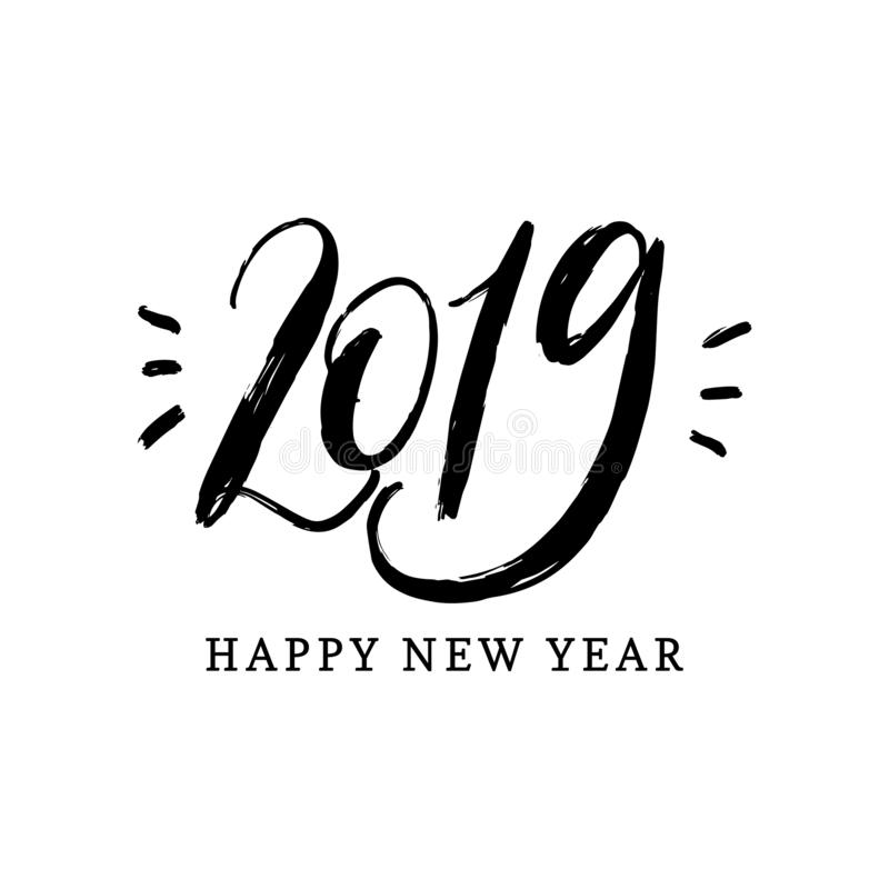 Happy New Year 2019, hand lettering. Vector illustration. Decorative design on white background for greeting card,poster stock illustration