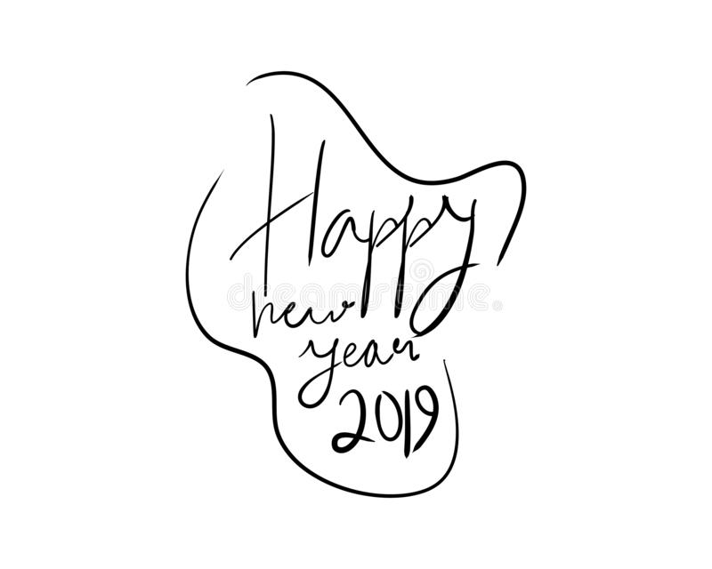 Happy new year 2019, hand lettering, vector illustration, decorative design on white background for greeting card, poster concept. Happy new year 2019 vector vector illustration