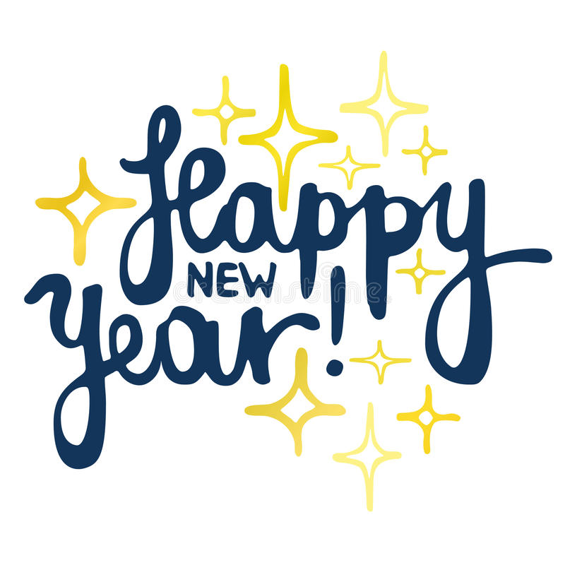Happy New Year hand made lettering royalty free stock image