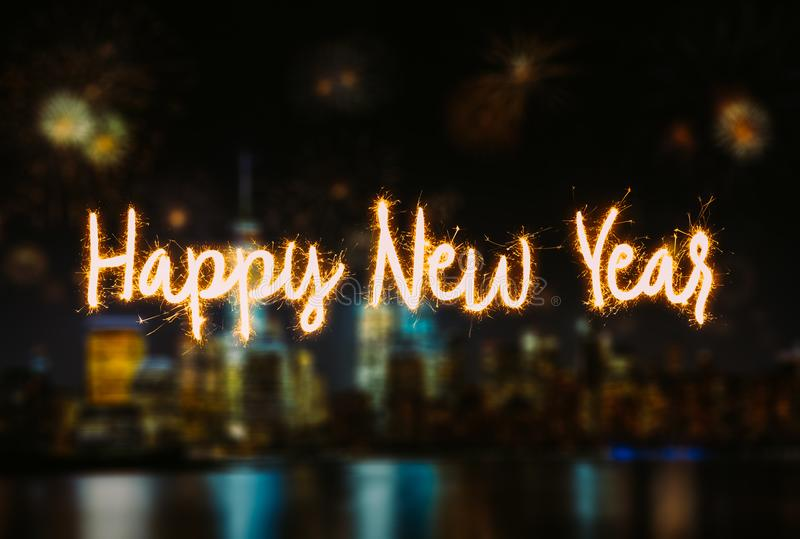 Happy New Year Handwriting Lettering with blurred background royalty free stock images