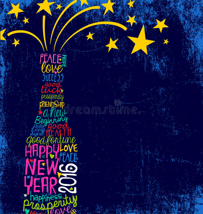 Happy New Year 2016 handwritten champagne bottle design royalty free illustration