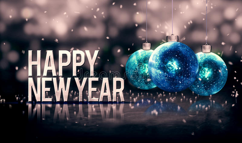 Happy New Year Hanging Baubles Blue Bokeh Beautiful 3D Grayscale Background stock illustration