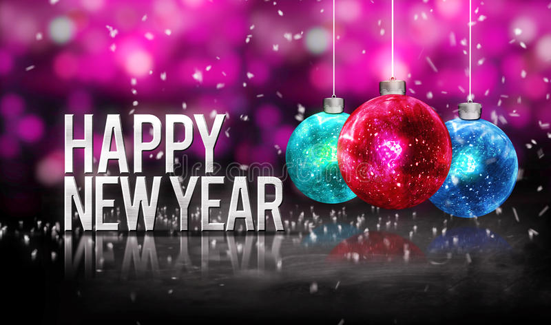 Happy New Year Hanging Baubles Red Blue Bokeh Beautiful 3D Pink stock illustration