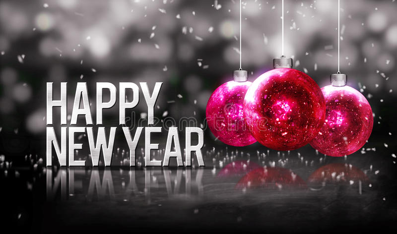 Happy New Year Hanging Baubles Red Bokeh Beautiful 3D Grayscale vector illustration
