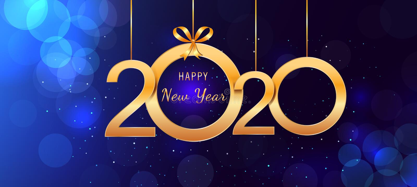 2020 Happy New Year hanging golden shiny numbers with ribbon bows on abstract blue background with lights and bokeh effect. stock illustration