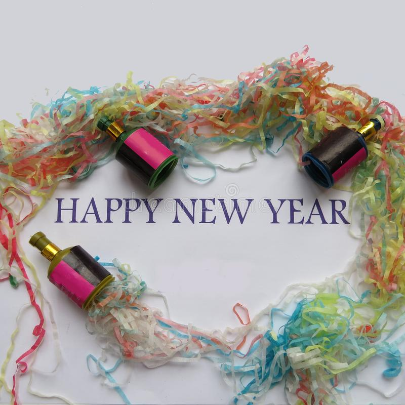 Happy New Year. And decorations background royalty free stock image