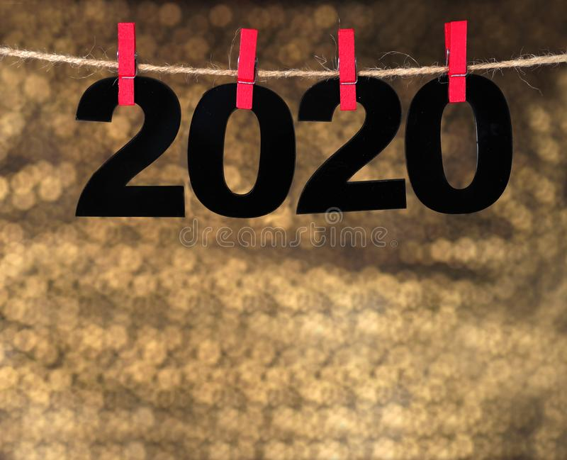 Happy New Year 2020. Symbol from number 2020 on abstract background royalty free stock photography