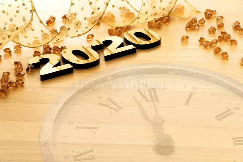 Happy New Year 2020. Symbol from number 2020 on wooden background stock photos