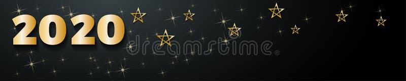 2020 Happy New Year header background, gouden sterren royalty-vrije illustratie