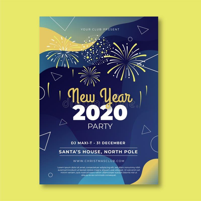 Happy New Year 2020 Hintergrund Grußkarten-Designvorlage Gold Celebrate Broschüre oder Flyer Schablone mit Feuerwerkskörper Luxus lizenzfreie abbildung