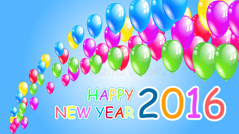 Happy new year 2016. holiday background with flying balloons stock illustration