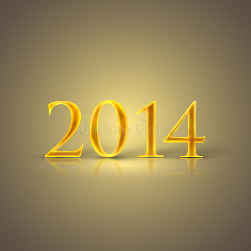 Happy new year 2014. holiday background with golden text vector illustration