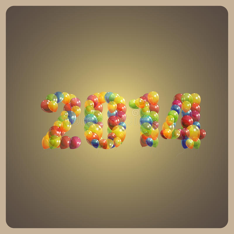 Happy new 2014 year. holiday background with multicolored balloons royalty free illustration