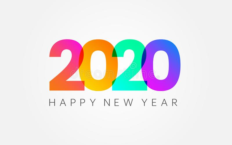 Happy New Year 2020. Holiday banner on white backdrop. Color gradient numbers and congratulation text. Minimal design royalty free illustration