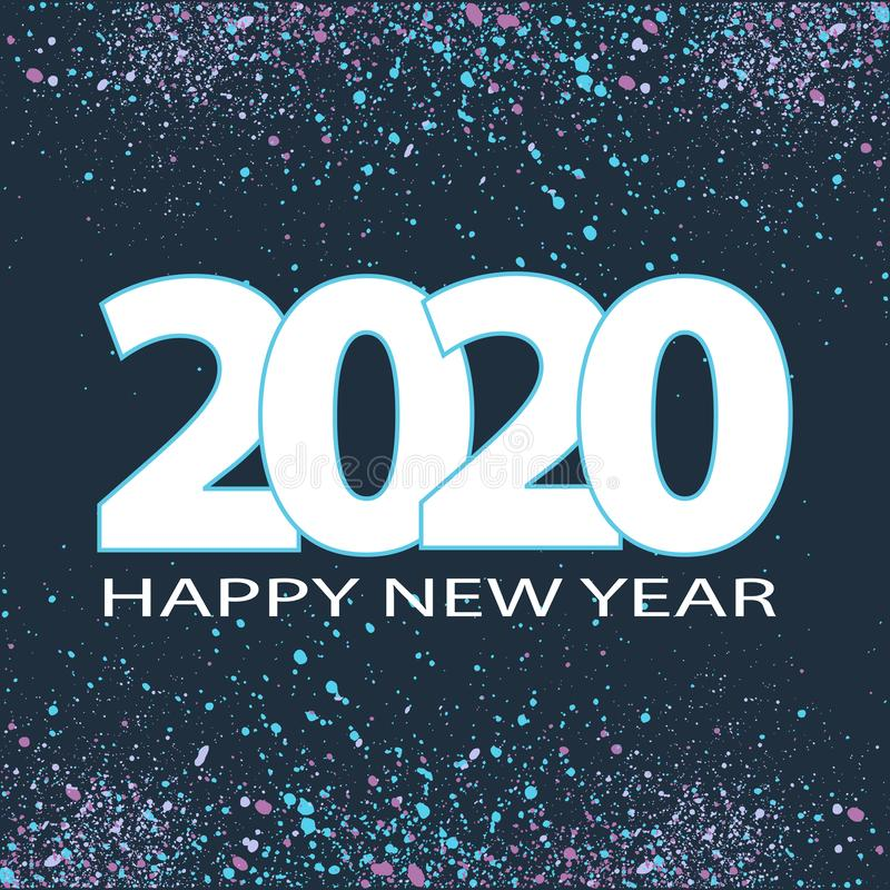 Happy New Year 2020, holiday concept. Glitter bubbles frame, black background. Vector illustration stock images