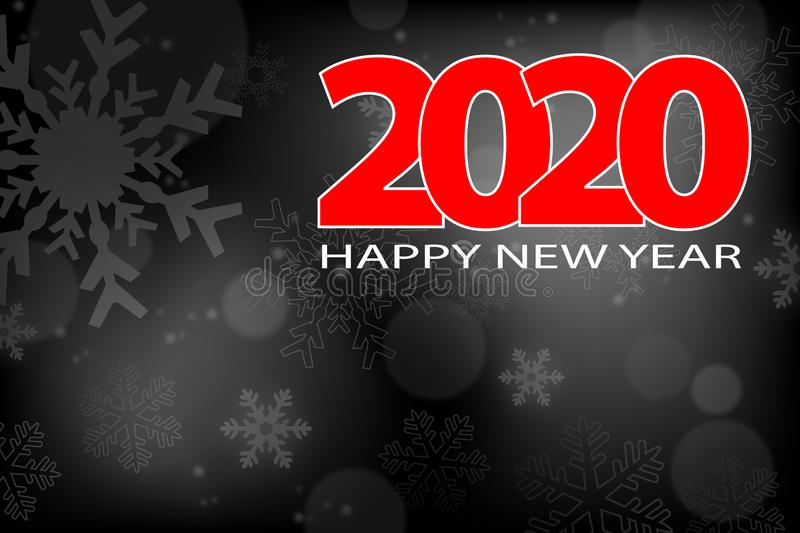 Happy New Year 2020, holiday concept with snowflakes on shiny background. Vector illustration stock illustration
