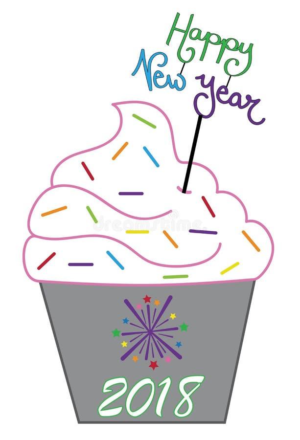 Happy New Year Holiday Cupcake royalty free illustration