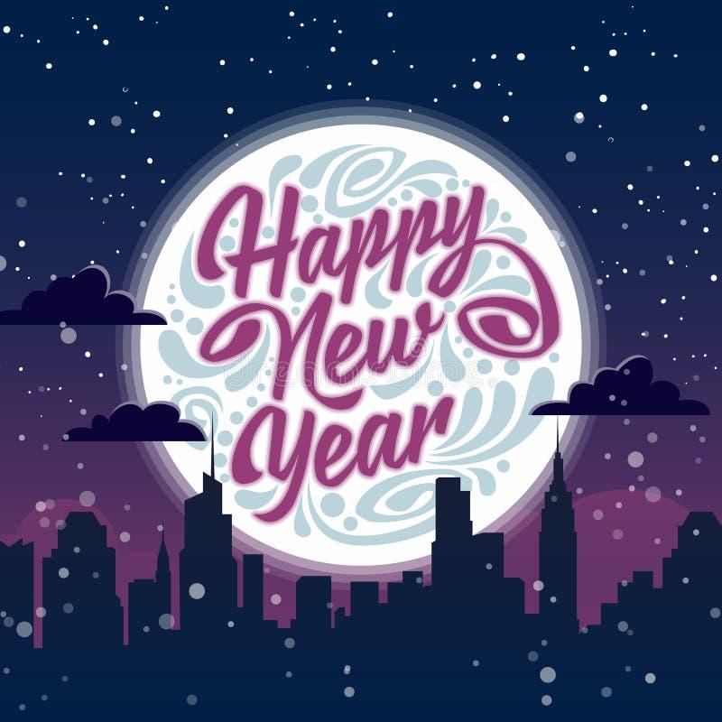 Happy New Year. Holiday greeting card royalty free illustration