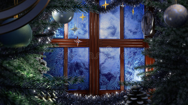 Happy New Year holiday scene with frost window. Happy New Year and Merry Christmas interior scene with frost window royalty free stock photo