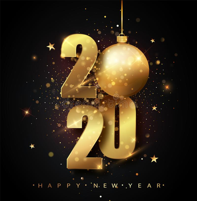 Happy New 2020 Year. Holiday vector illustration of golden metallic numbers 2020. Gold Numbers Design of greeting card vector illustration