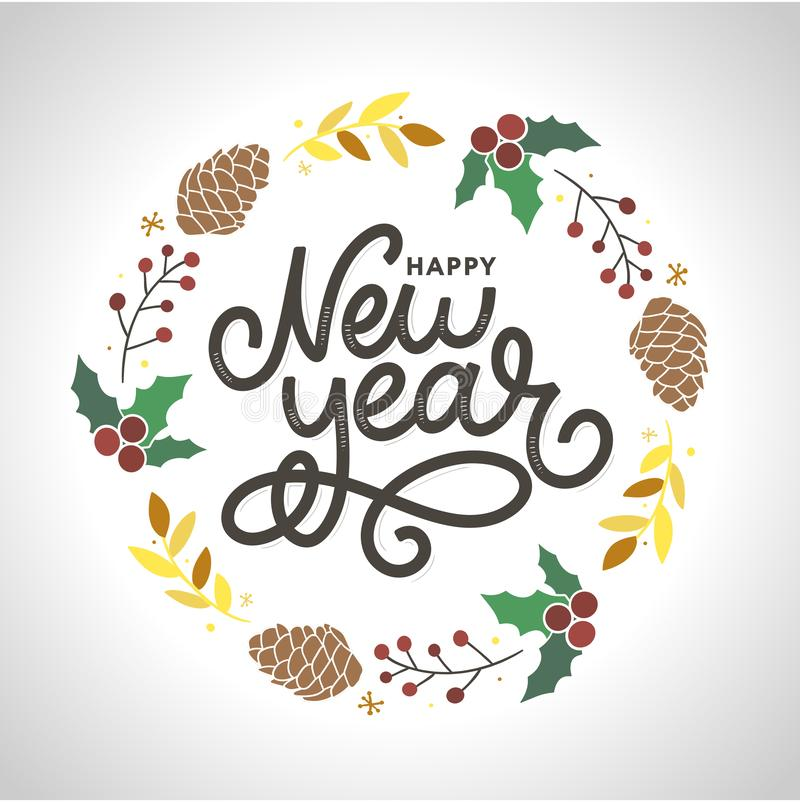 Happy New 2020 Year. Holiday Vector Illustration With Lettering Composition with burst Christmas. Happy New 2020 Year. Holiday Vector Illustration With Lettering stock illustration
