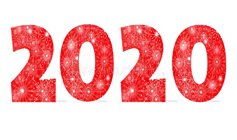 Happy New Year holiday winter design. 2020 red Christmas ornament numbers with snowflakes isolated on white background royalty free illustration