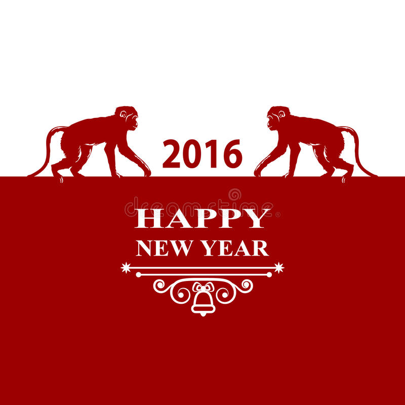 Happy New Year holidays 2016 Decorations Card. Silhouette monkey on red white background. Greeting card, invitation, brochure, fly vector illustration