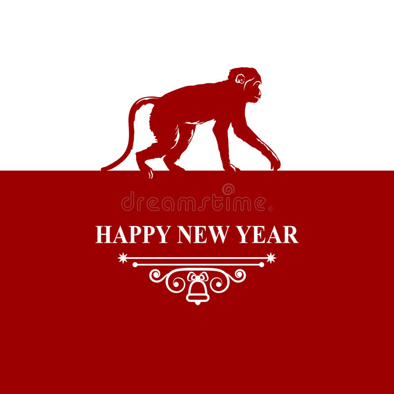 Happy New Year holidays wish Decorations Card. Silhouette monkey on red white background. Greeting card, invitation, brochure, fly vector illustration