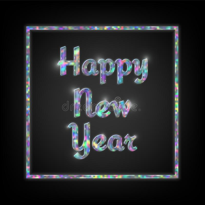 Holographic Typographic New Year Stock Vector - Illustration of ...