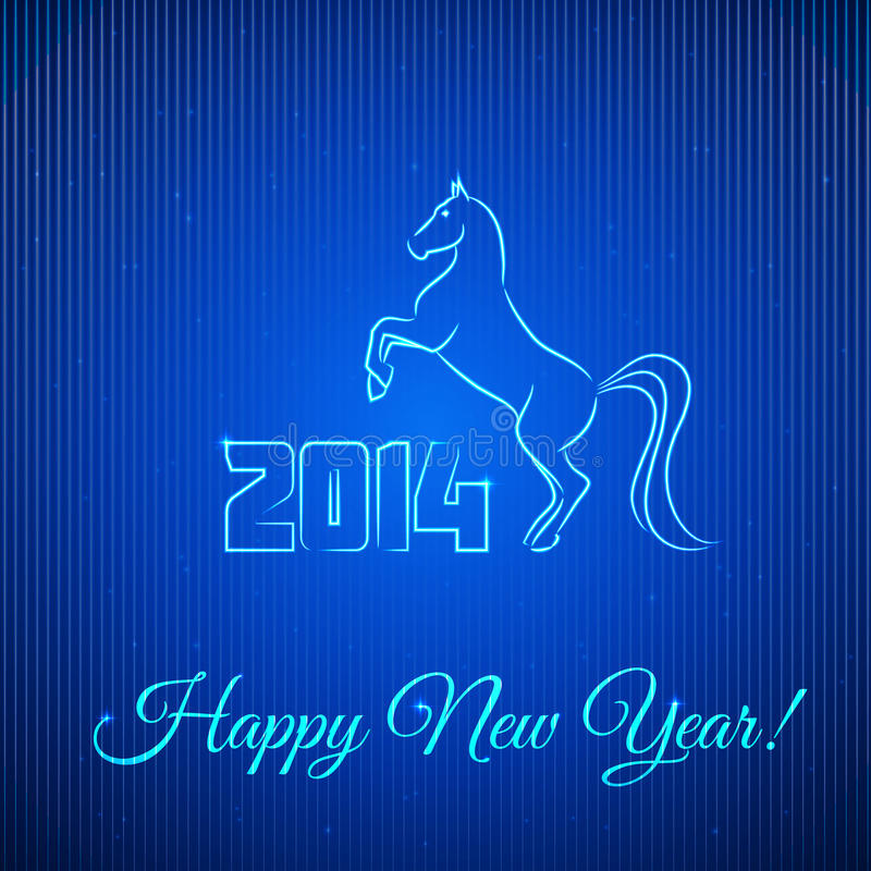 Happy New Year 2014. Illuminated Neon Horse. stock images