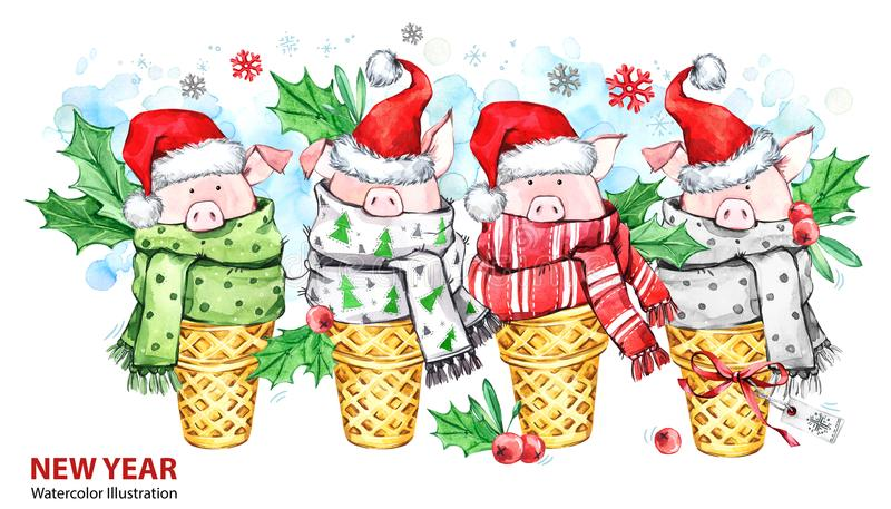 2019 Happy New Year illustration. Christmas border. Cute pigs with Santa hat in waffle cones. Greeting watercolor. Dessert. Symbol of winter holidays. Perfect vector illustration