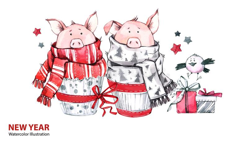 2019 Happy New Year illustration. Christmas border. Cute pigs in scarves with gifts and bird. Greeting watercolor cakes royalty free illustration