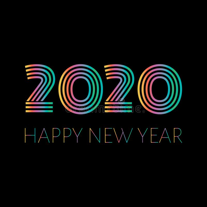 2020 Happy New Year. Illustration for design New Years postcard, calendar. Colorful text and number 2020 isolated on stock illustration