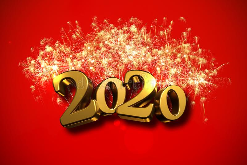 Happy New Year 2020 Background With Fireworks. Stock ...