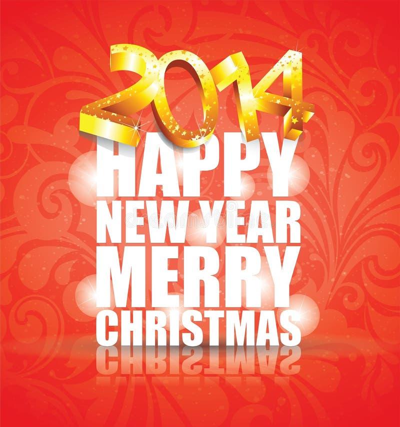 Happy New Year 2014 - Illustration Royalty Free Stock Image