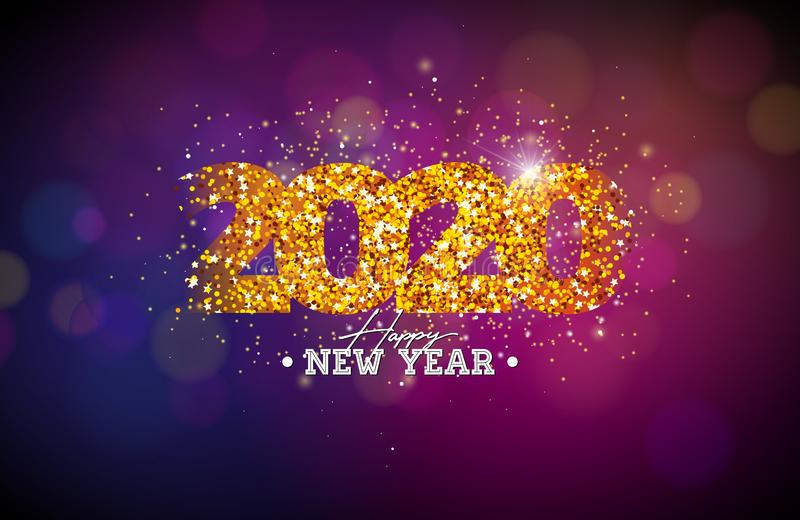 2020 Happy New Year illustration with shiny number on dark background. Vector Holiday design for flyer, greeting card vector illustration