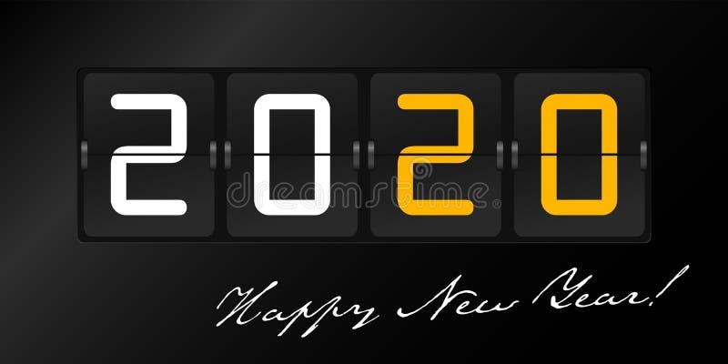 Happy New Year 2020 im Flip-Panel-Stil auf schwarzem Hintergrund GrußHintergrundinformationen lizenzfreie abbildung