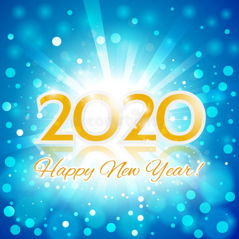 Happy New Year 2020 Invitation Card royalty free illustration
