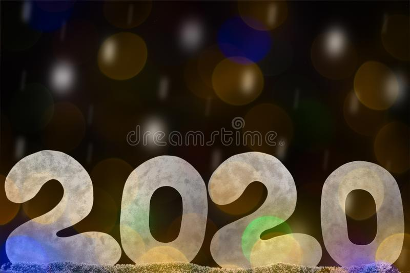 Happy new year 2020 isolated on black background with copy space for text, for holiday card. Blurred snowflakes, snow royalty free stock photos