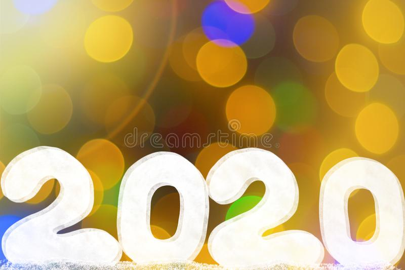 Happy new year 2020 isolated on black background with copy space for text, for holiday card. Blurred snowflakes, snow royalty free stock photo