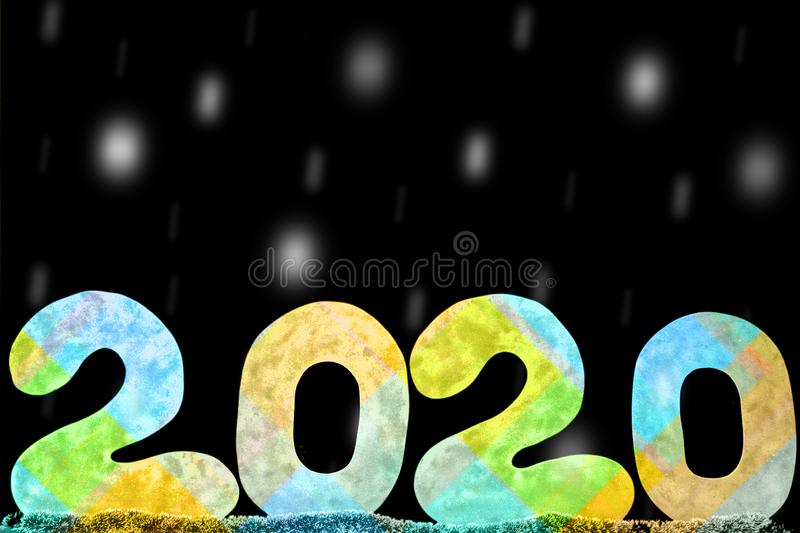 Happy new year 2020 isolated on black background with copy space for text, for holiday card stock photo