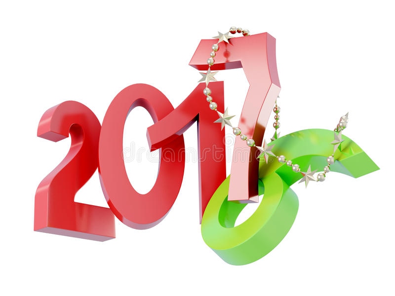 Happy new year 2017 isolated. 3d rendering stock illustration