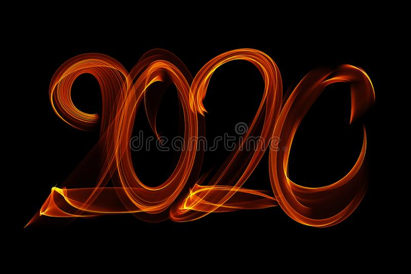 Happy new year 2020 isolated numbers lettering written with fire flame or smoke on black background stock image