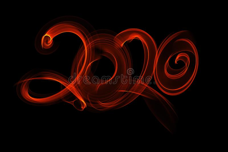 Happy new year 2020 isolated numbers lettering written with fire flame or smoke on black background royalty free illustration