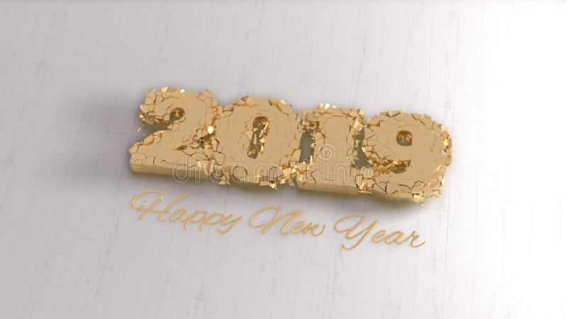 Happy new year 2019 isolated numbers lettering written by gold on white background. 3d illustration stock image