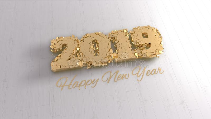 Happy new year 2019 isolated numbers lettering written by gold on white background. 3d illustration stock photos