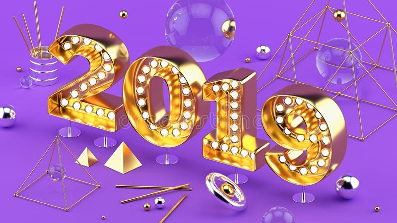 2019 Happy New Year isometric closeup 3D installation with 2019 numbers on ultraviolet background. 2019 Happy New Year isometric closeup 3D installation. Bright royalty free illustration