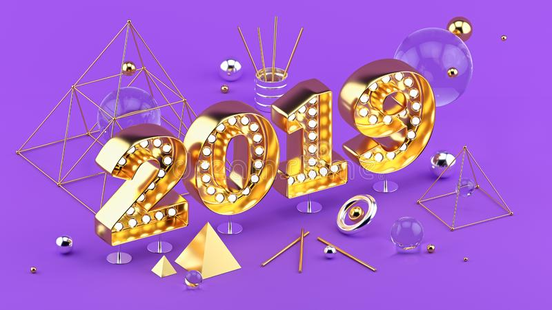 2019 Happy New Year isometric 3D illustration for poster or greeting card design. stock illustration